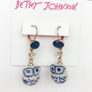 Betsey Johnson Blue Ceramic Owl Earrings